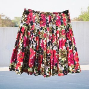Mini Skater Skirt Floral Pleated Cotton 8